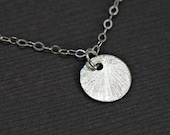 Tiny Disc Necklace Brushed Sterling Silver Tiny Dot Necklace,Everyday Jewelry, Wedding Jewelry, Modern Layering Necklace,Couple Jewelry