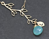 Branch Necklace Personalized Gold, Birthstone Necklace, Initial Necklace,Mothers Necklace, Bridesmaid Gift Idea, Branch Necklace
