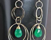 Dangle Drop Earrings Gold Circles Earrings Emerald Quartz, Long Earrings, Custom Birthstone Chandelier Earrings