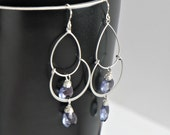 Custom Chandelier Silver Earring with Faceted Gemstone of your Choice,Bridesmaid Gift Idea,Everyday Wear, Silver Dangle Earrings