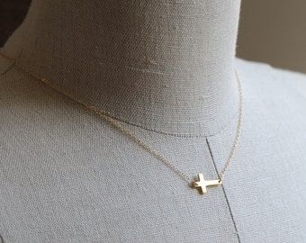 Sideways Cross Necklace 14k GOLD Fill - Handcrafted 14K Gold Filled Cross Pendant Necklace, Everyday Jewelry, Tiny Gold Cross