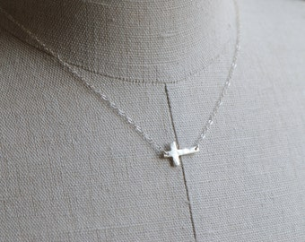 Sideways Cross Necklace in Solid STERLING SILVER - Handcrafted Sterling SIlver Cross Necklace