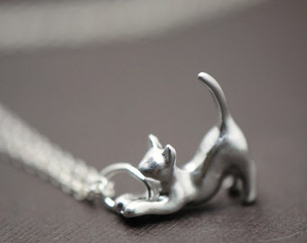 Cat Necklace, Cat Lovers Necklace, Kitty SILVER Jewelry, Cat Pendant Charm