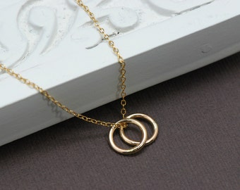 Double Circle Necklace - 24K Gold Vermeil Double Rings, Best Friends, Sister Necklace, Mother Necklace, Bridesmaids Jewelry