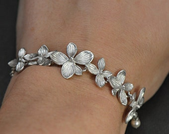 Orchid Flower Bracelet Silver, Bridal Jewelry, Maid of Honor, Best Friend GIft, Junior Bridesmaid Gift, Bridesmaid Gift, Mother Gift