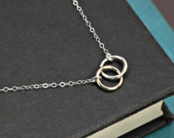 Circle Necklace, SILVER and GOLD Mixed Metals Necklace, Interlocking Rings Necklace, Bridesmaid Jewelry