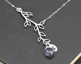 Personalized Branch Necklace Silver, Birthstone Necklace, Initial Necklace,Mothers Necklace, Bridesmaid Jewelry, Family Tree