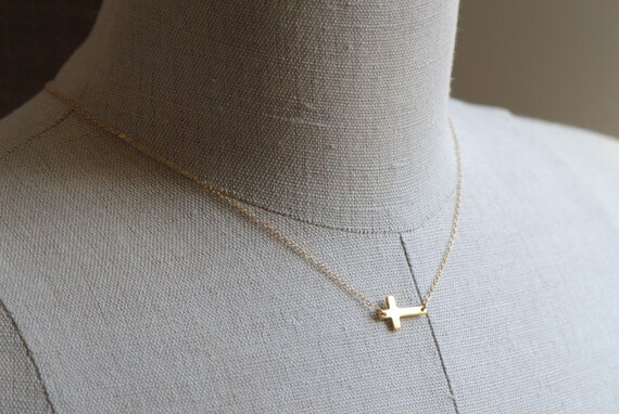 Sideways Cross Necklace 14k GOLD Fill - Handcrafted 14K Gold Filled Cross Pendant Necklace, Everyday Jewelry, Tiny Gold Cross