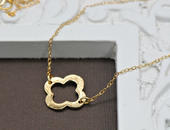 Clover Necklace,  Gold Clover Charm Gold Overlay, Simple Everyday Jewelry,  Layering Necklace, Mothers Necklace