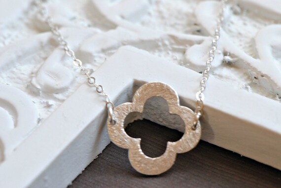 Clover Necklace Silver,  Sterling Silver, Bridesmaid Gift Idea, Mothers Jewelry, Symbolic Jewelry
