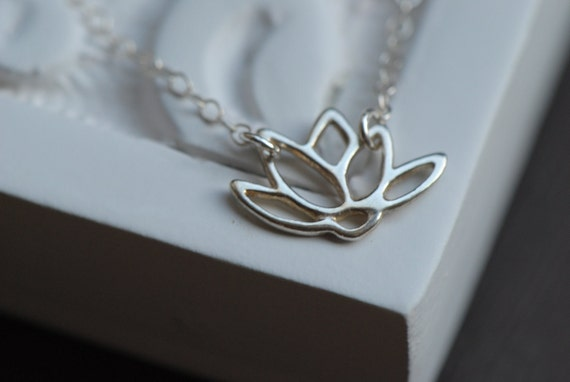 Silver Lotus Necklace in Solid STERLING SILVER, Bridesmaids Gifts ,Bridal Jewelry, Anniversary Gift