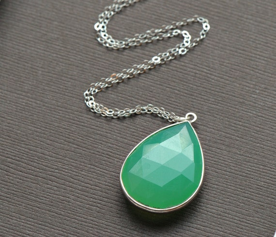 Chrysoprase Teardrop Necklace Sterling Silver Rimmed with Sterling Silver Chain, Large Faceted Stone Tear Drop Necklace Gemstone Necklace