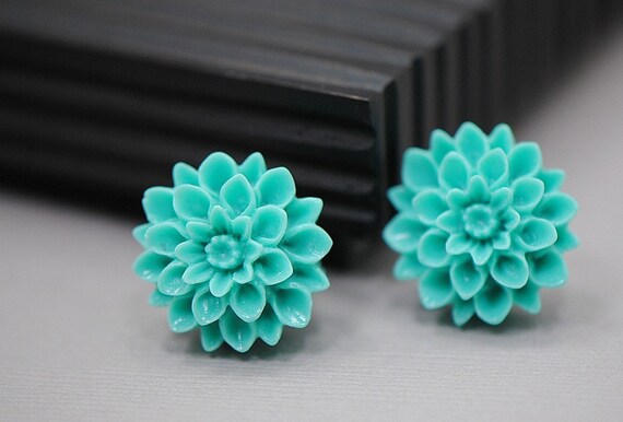 Aqua Turquoise MUM Chrysanthemum Stud Earrings