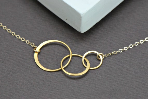 Interlocking Circles Necklace 14k Gold Filled- Mother and Children, Family, Couples, Wife, Sisters, Lovers