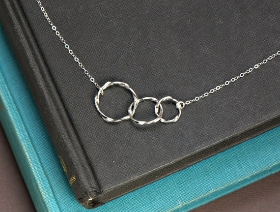 Triple Ring Circle Sterling Silver Necklace, Simple Everyday Jewelry, Sterling Silver Chain, Symbolic, Mother and Children, Family Necklace