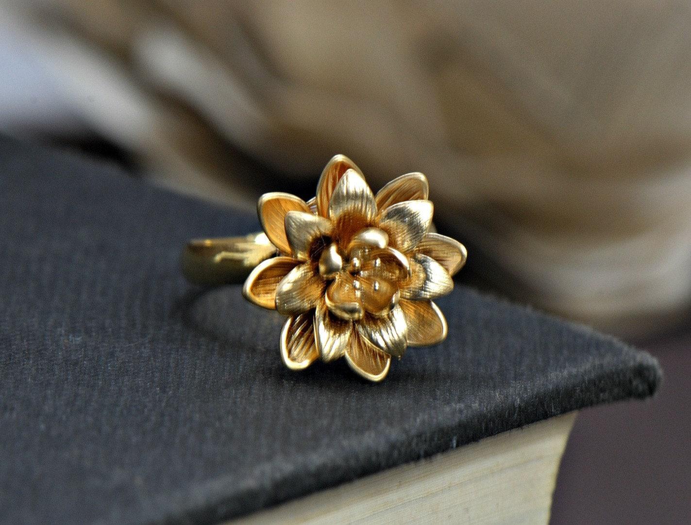 Lotus Ring Silver Flower Ring Gold Ring Bridesmaids Gifts