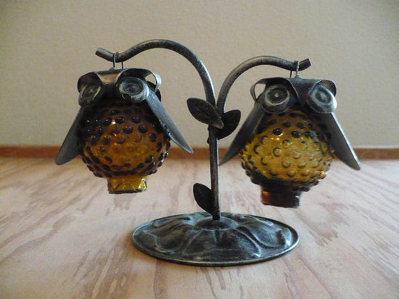 Amber hobnail and metal hanging owl salt and pepper shakers