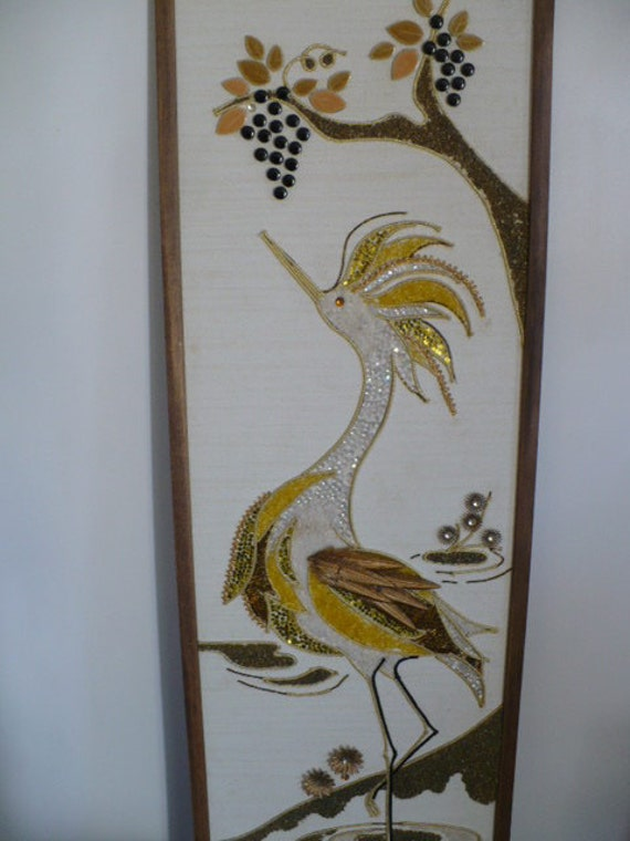 Mid Century gold egret or crane gravel art with grape motif