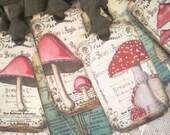 Whimsical French Mushroom Gift Tags - Fungi - Mushroom Study - Vintage Book Illustration - Toad Stool - Ephemera - Buy 3 Get 1 Free