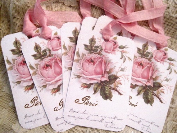 Shabby Pink Roses Gift Tags No 57 - Floral - Vintage - Paris - French Script - Hand Stamped - Embossed - Large Size - Buy Three Get One Free