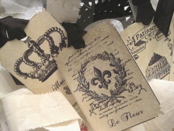 Vintage French Bulap Gift Tags no 12 - Labels - Paris - Cherubs - Fleur de lis - Eiffel Tower - Embossed - Glitter - Buy Three Get One Free