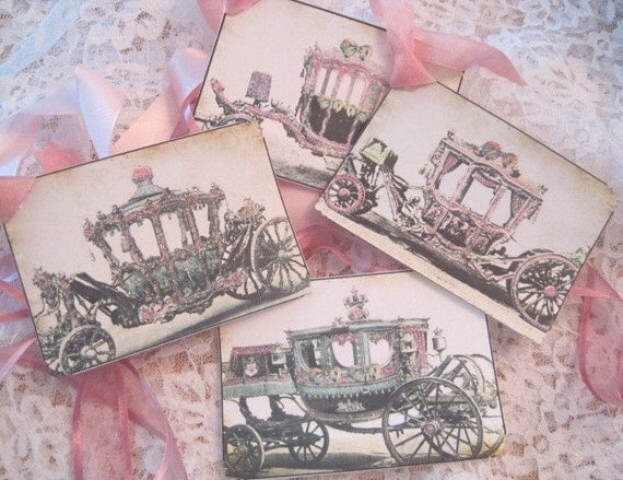 Shabby French Cinderella Carriage Gift Tags - Paris Pink - Postcards - Embossed - Glitter - Birthday - Wedding - Shower - Buy 3 Get 1