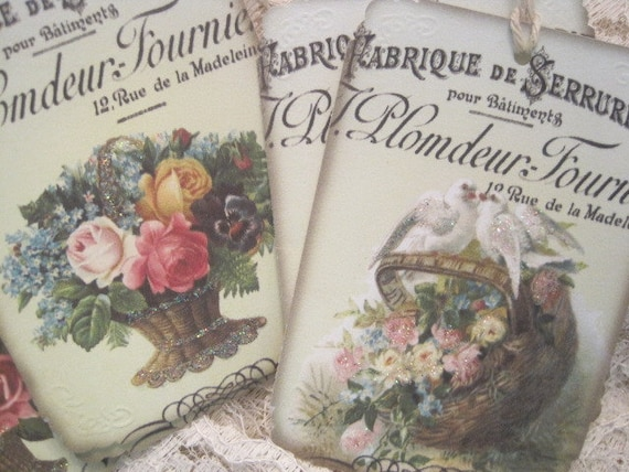 CUSTOM LISTING for Jane Hutchinson - Shabby French Floral Gift Tags no 37c - Buy Three Get One Free