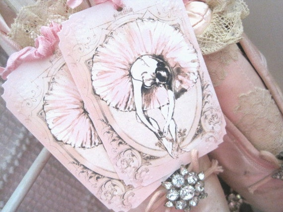 CUSTOM LISTING for Ashley Bonner - ONLY - French Ballet Gift Tags no195 - Buy 3 Get 1 Free