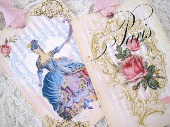 CUSTOM LISTING for Christine Hollett - ONLY - Marie Antoinette Gift Tags No 205