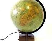 Vintage World Globe Danish Modern Mid-Century Illuminated Glass Weber Costello