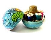 RESERVED Vintage World Globe Early Tin Litho Sewing Kit Etui Novelty