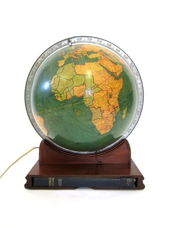 Vintage World Globe Pre-WW2 Art Deco 1936 Illuminated Glass Replogle w/Atlas
