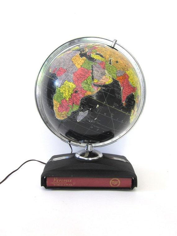 Vintage World Globe Art Deco Retro Black Oceans Illuminated Glass 1950 Replogle