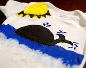 Whale Look At That - Blue, Yellow and Black Onesie with Sun and Water - Design Available On ANY Size Child's Shirt or Onesie