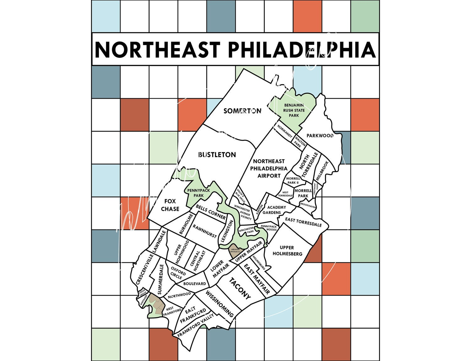 Northeast Philadelphia Neighborhoods Map By PhilaMapCo On Etsy