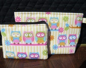 Owls Branch with Flowers make up bag and coin bag set