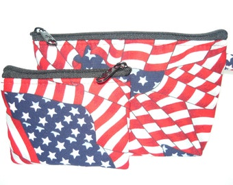 Red.White. Blue  make up bag and coin bag set