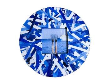 Blue Magazine Frame - Round Frame made from Upcycled Magazines