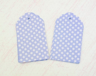 "Lavender Polka Dot Hang Tags - Large Lavender Tags - 10 2 1/2"" Tags"