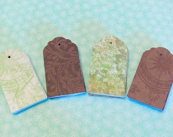 """Blank Hang Tags - 32 Blank Tags in 4 Patterns - 2 1/2"""" x 1 3/8"""""""