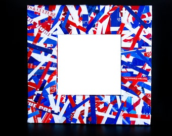 Square Recycled Magazine Frame - Red, White and Blue Frame