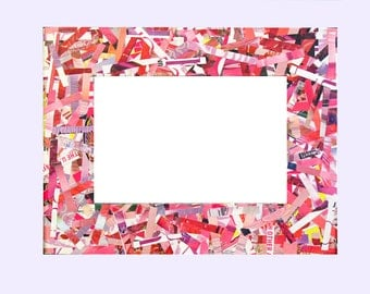 Pink Frame - Pink Recycled Magazine Frame - Made from Recycled Magazines