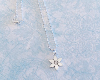 Star Flower Charm Necklace - Antique Silver Flower Charm  - Made in USA