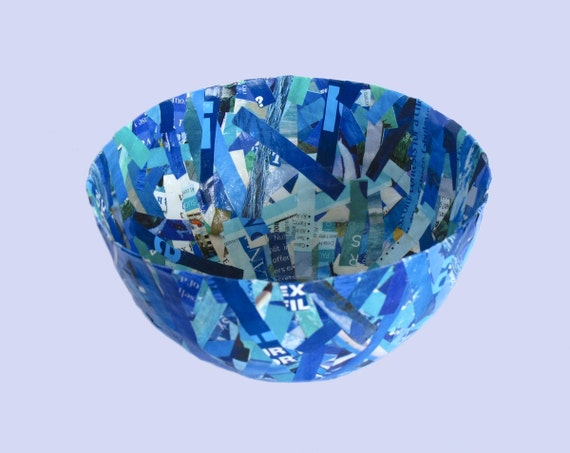 Recycled Magazines Bowl, Cup in Teal and Blue