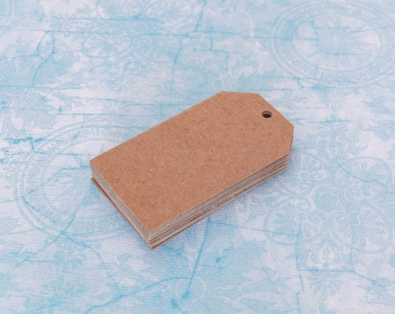 Upcycled Chipboard Tags - 12 Tags Made from Recycled Kraft Cardstock Chipboard 2 3/16 x 1 5/16