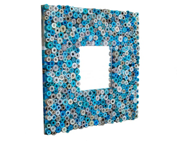 Teal Mirror - Mirror Made from Recycled Magazines