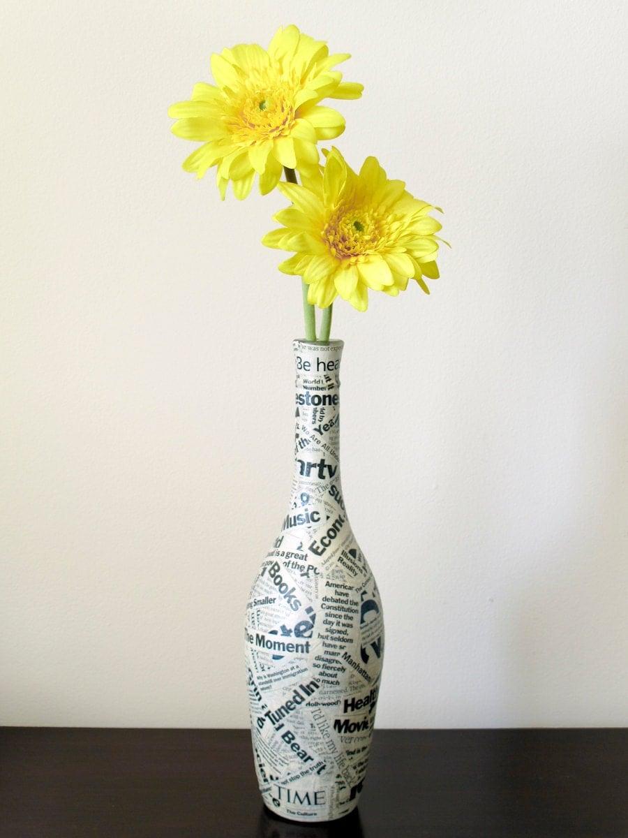 Wine bottle vase upcycled wine bottle decoupaged with time for Wine bottle flower vase