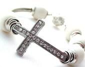 Rhinestone Cross Bracelet Sterling Silver White Coral Beaded Asymmetrical Jewelry