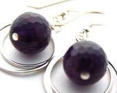 BLACK FRIDAY SALE Amethyst Hoop Earrings Double Hoops Sterling Silver Round Gemstones
