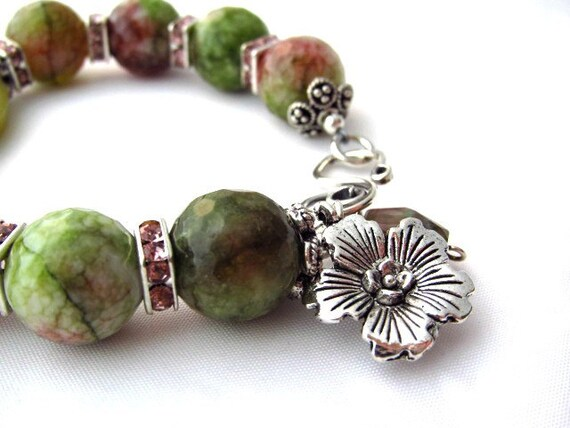 Agate Chunky Bracelet Raspberry Green Springtime Summer Fashion